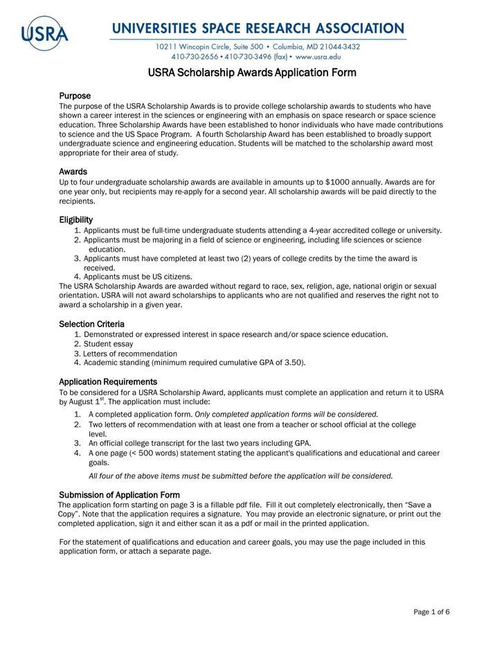 Download Free Sample University Scholarship Application Form