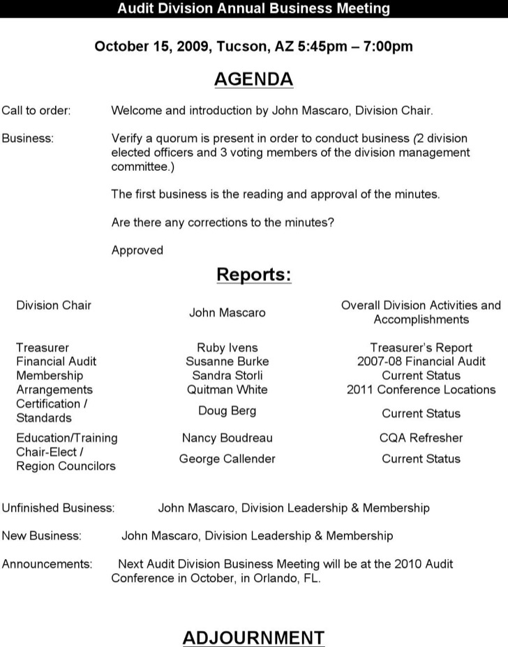 12+ Budget Meeting Agenda Templates Free Download
