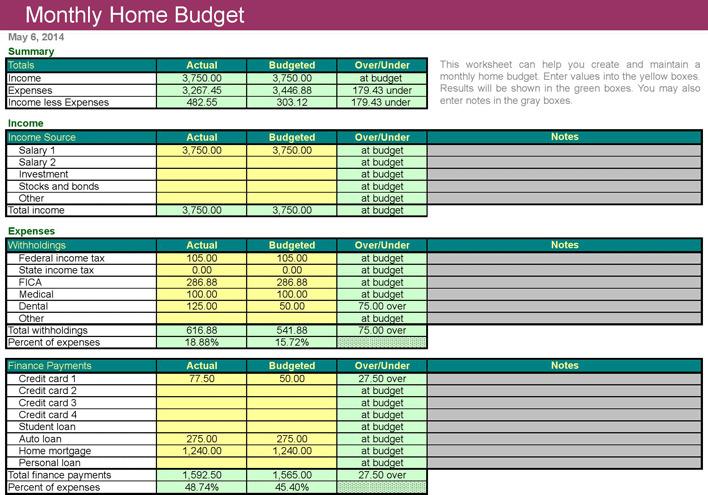 4+ Home Budget Worksheet Free Download