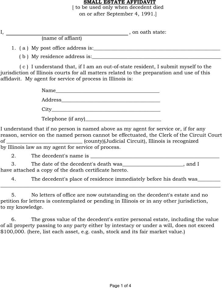 3+ Illinois Affidavit Form Free Download