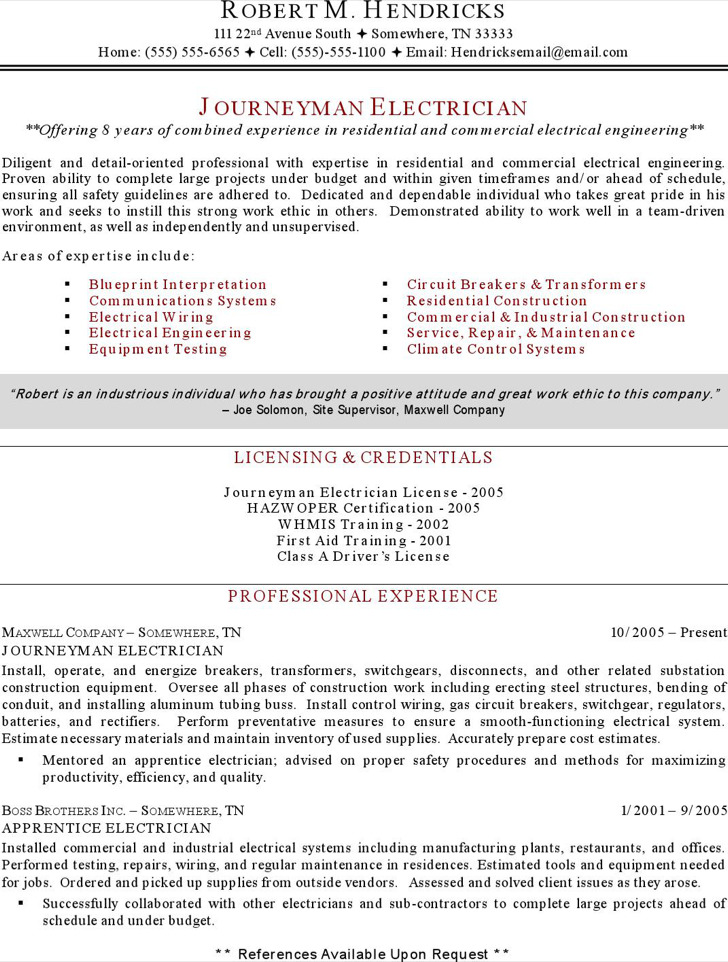 5+ Electrician Resume Templates Free Download