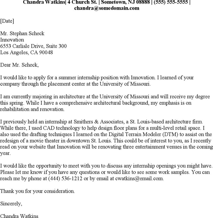 3+ Internship Cover Letter Examples Free Download