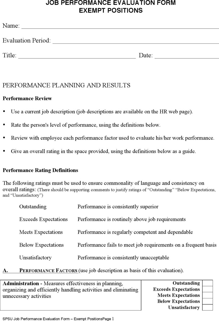 work performance evaluation form - Pinarkubkireklamowe