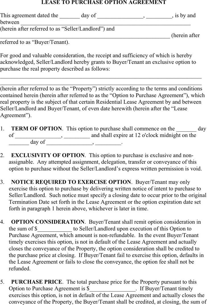 3+ Lease Purchase Agreement Free Download