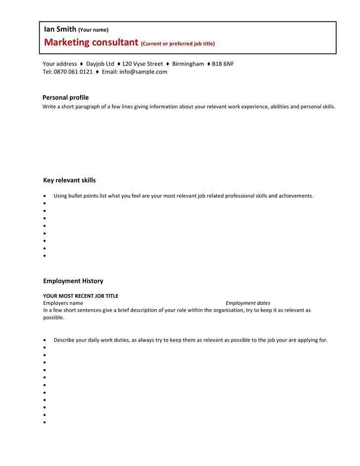 short cv template free