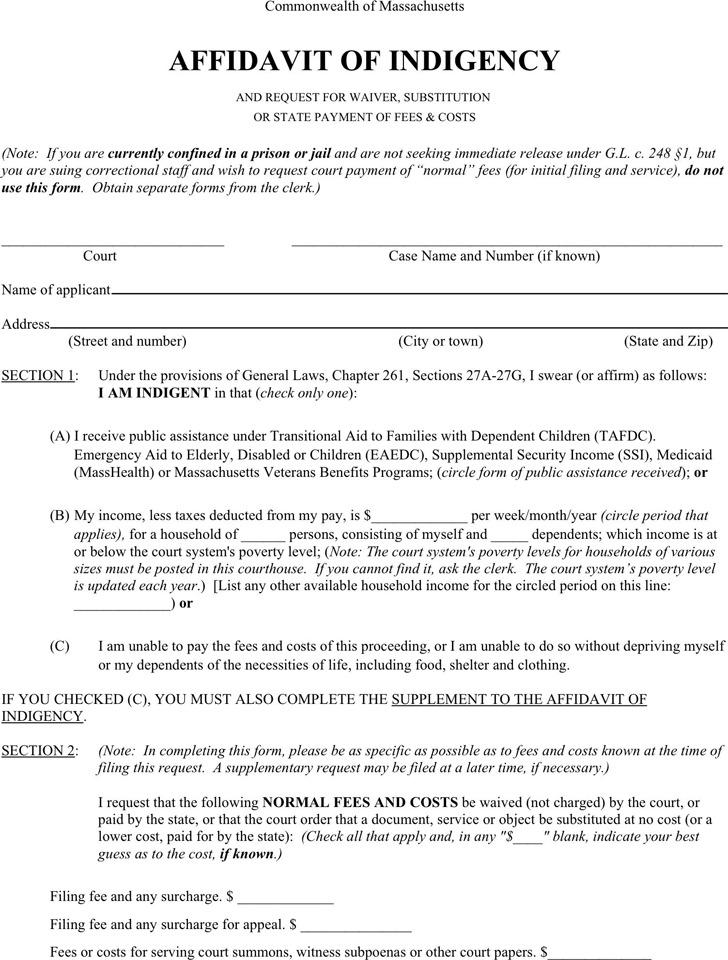 4+ Massachusetts Affidavit Form Free Download