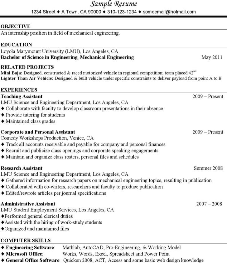 5+ Mechanical Engineering Resume Templates Free Download - Mechanical Engineering Resume