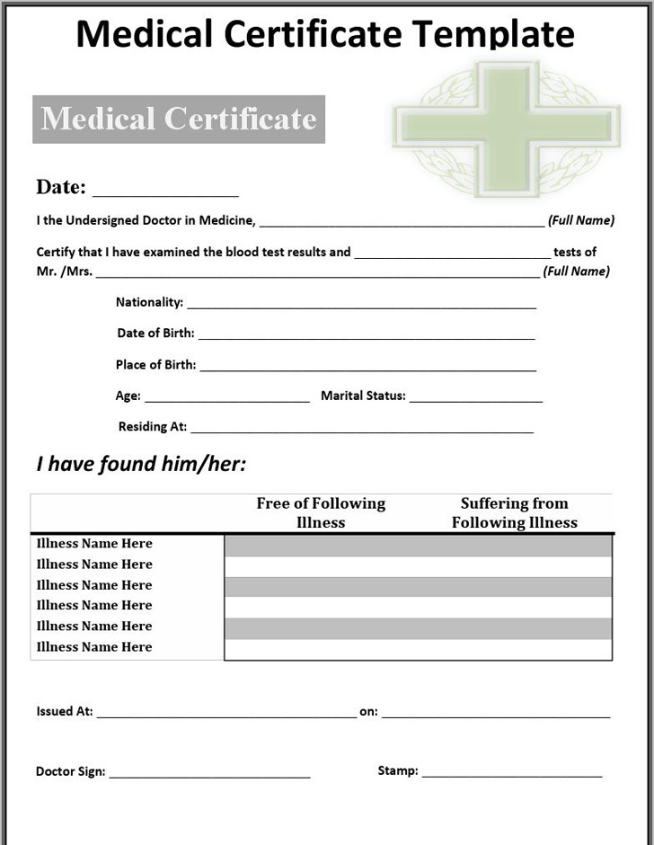 Medical Certificate From Doctor Colbro