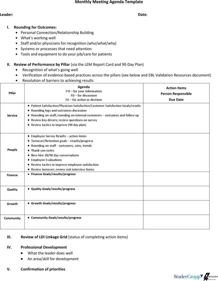 10+ Microsoft Meeting Agenda Template Free Download