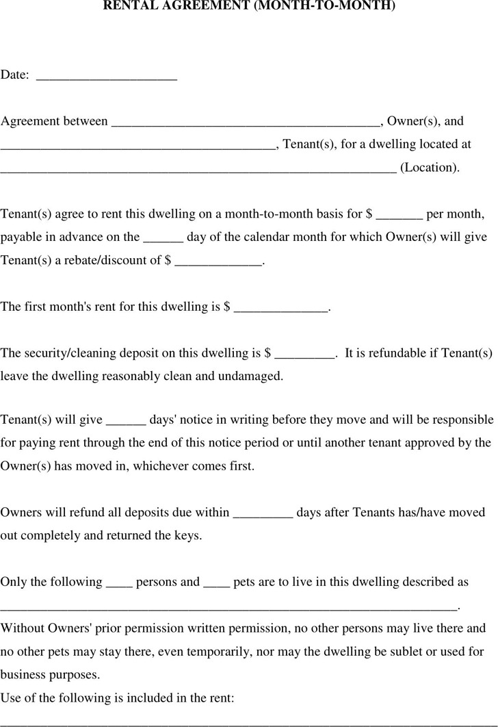 3+ Month to Month Rental Agreement Free Download