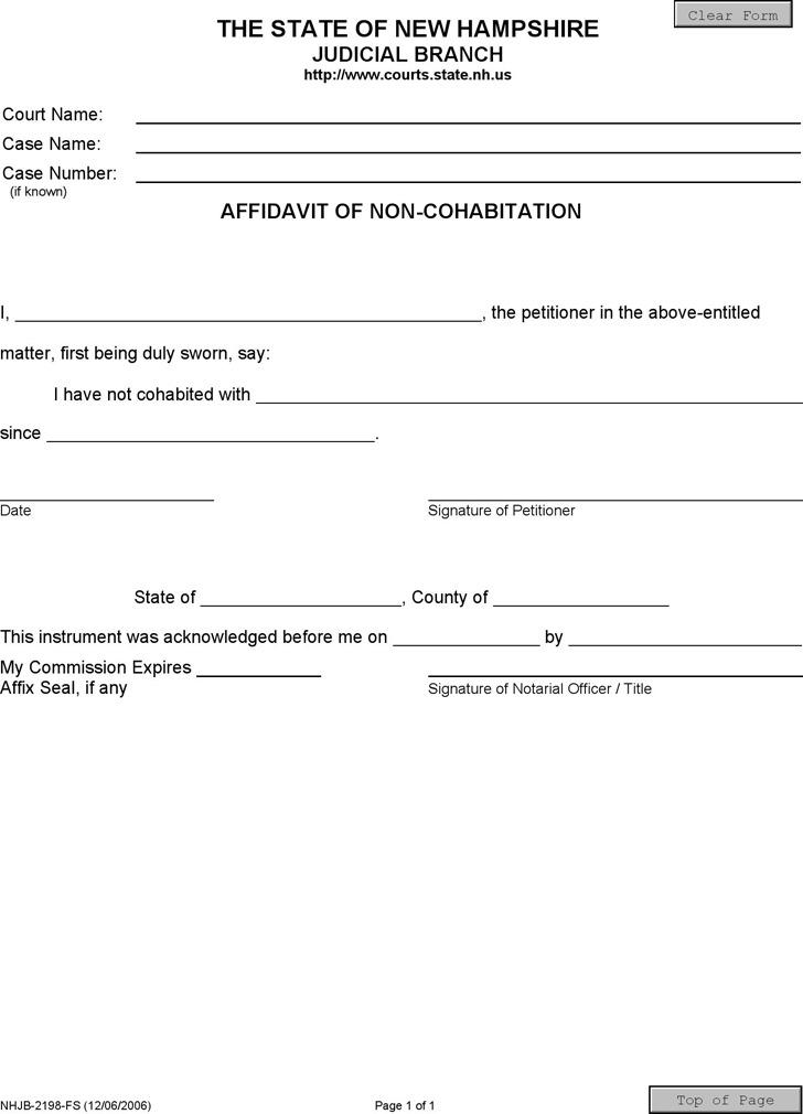 10+ New Hampshire Affidavit Form Free Download