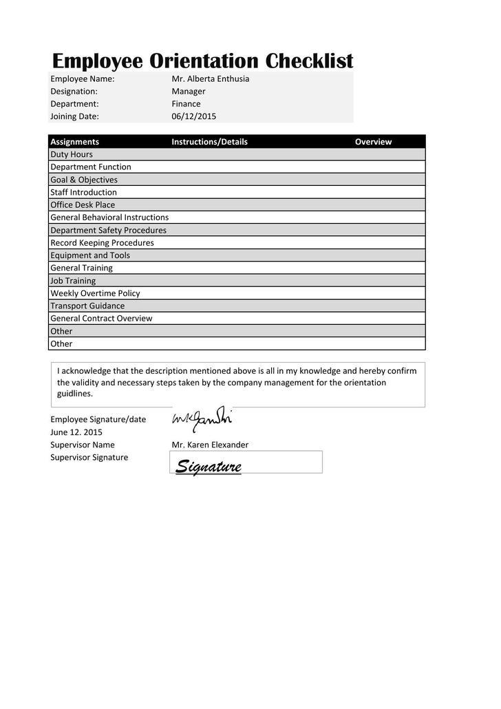 new employee joining checklist - Pinarkubkireklamowe