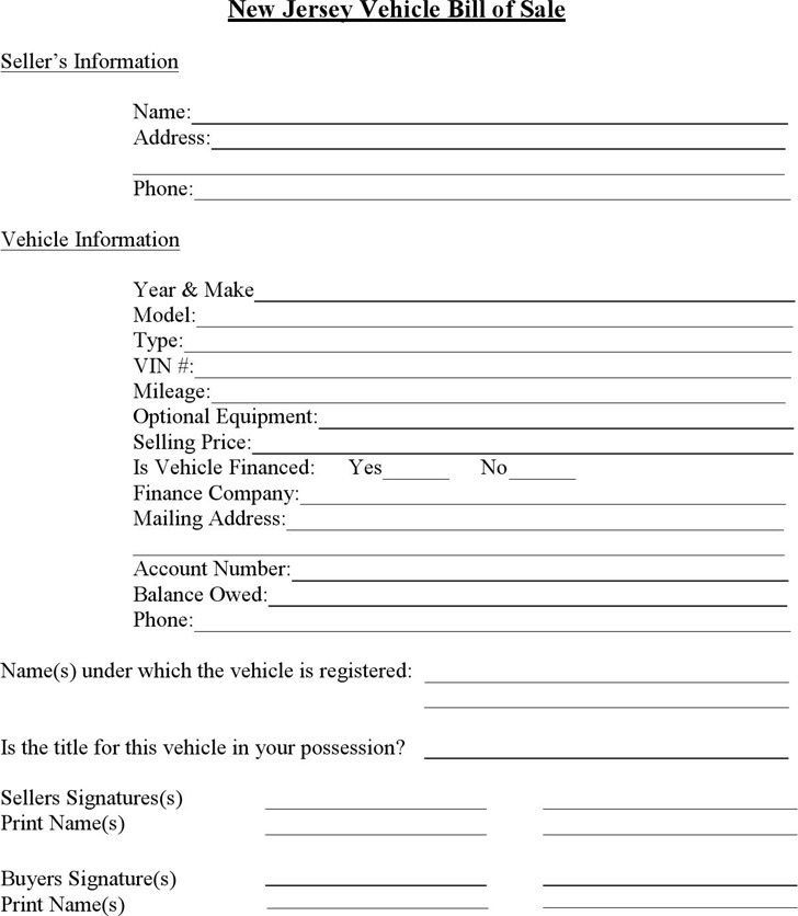 Download New Jersey Vehicle Bill of Sale for Free - TidyTemplates