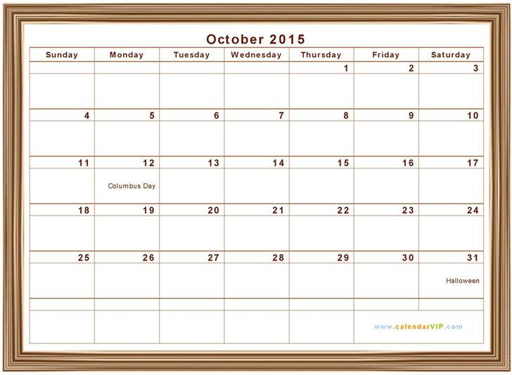3+ October 2015 Calendar Free Download