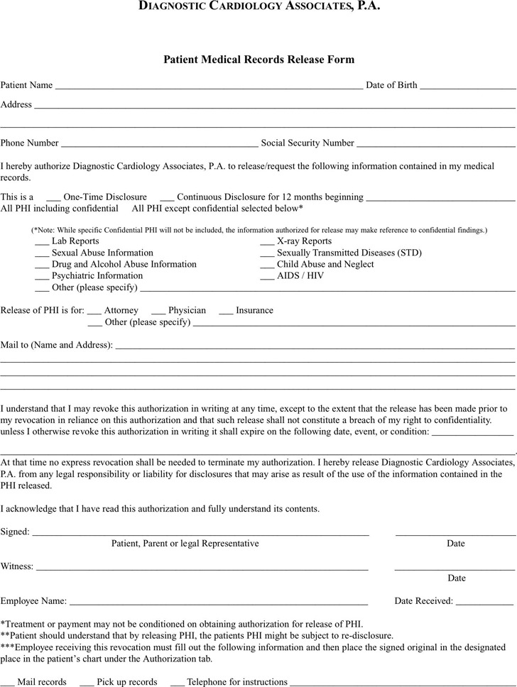 1+ Pennsylvania Medical Records Release Form Free Download