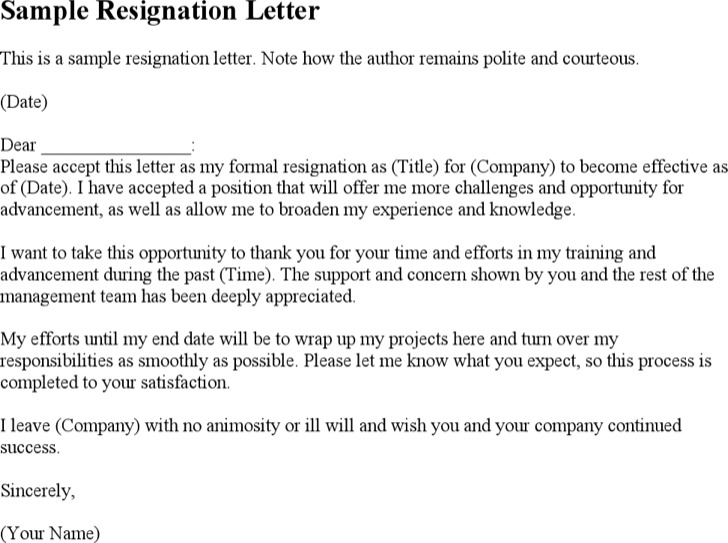 8+ Resignation Letter Word Template Free Download