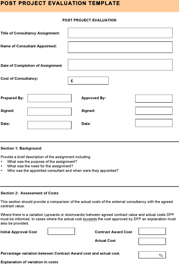 8+ Sample Project Evaluation Templates Free Download