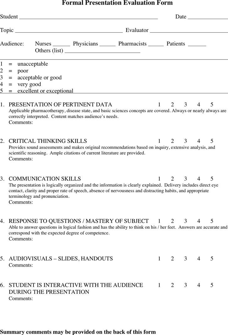 3+ Presentation Evaluation Form Free Download