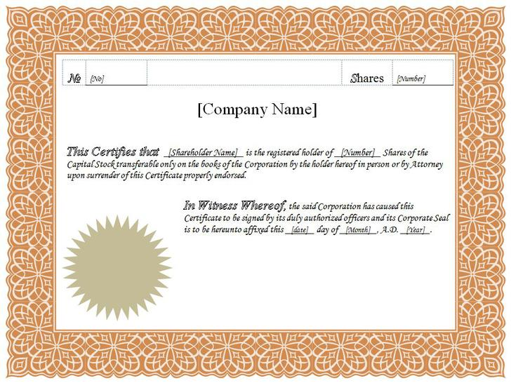 25+ Stock Certificate Template Free Download