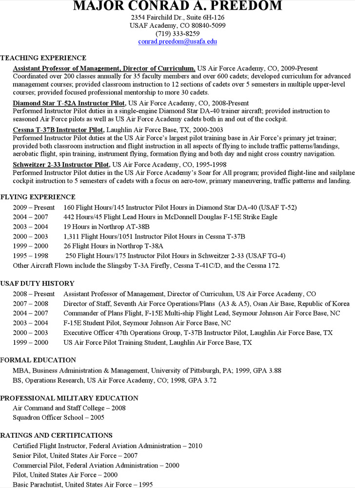 pilot resume templates - Pinarkubkireklamowe