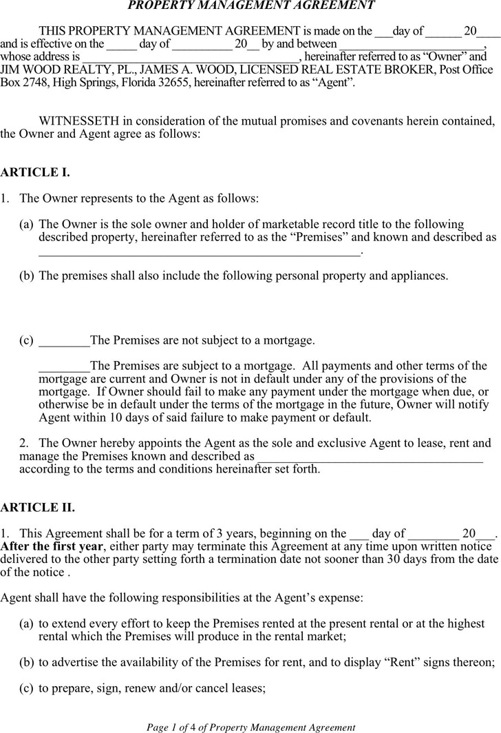 4+ Property Management Agreement Free Download