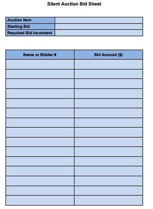 silent auction bid sheet doc - Pinarkubkireklamowe