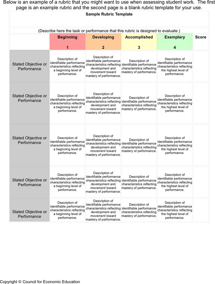 3+ Rubric Template Free Download
