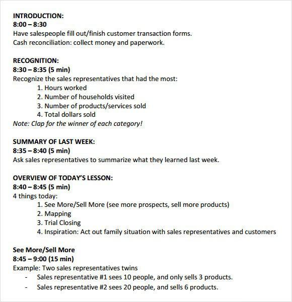 Download Sales Meeting Agenda Template PDF Format Download for Free - format for an agenda