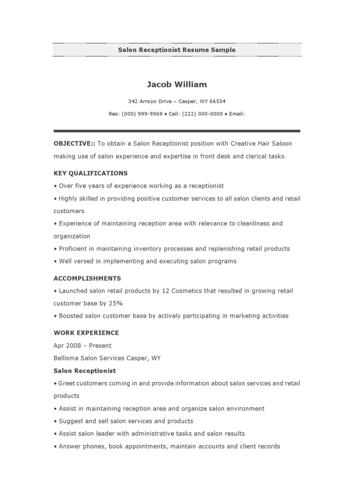 3+ Salon/Spa/Fitness Resume Template Free Download