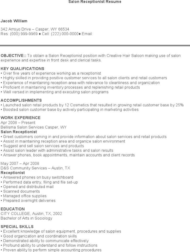 7+ Receptionist Resume Templates Free Download