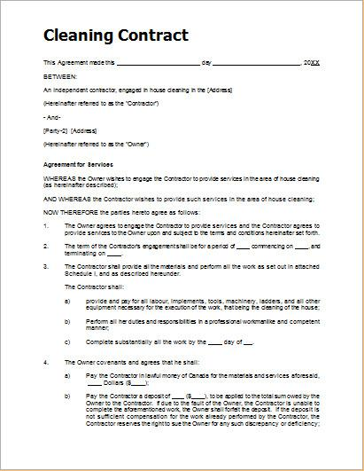 Download Cleaning Contract Template for Free - TidyTemplates - sample cleaning contract template