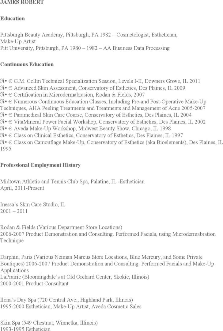 esthetician resume templates free