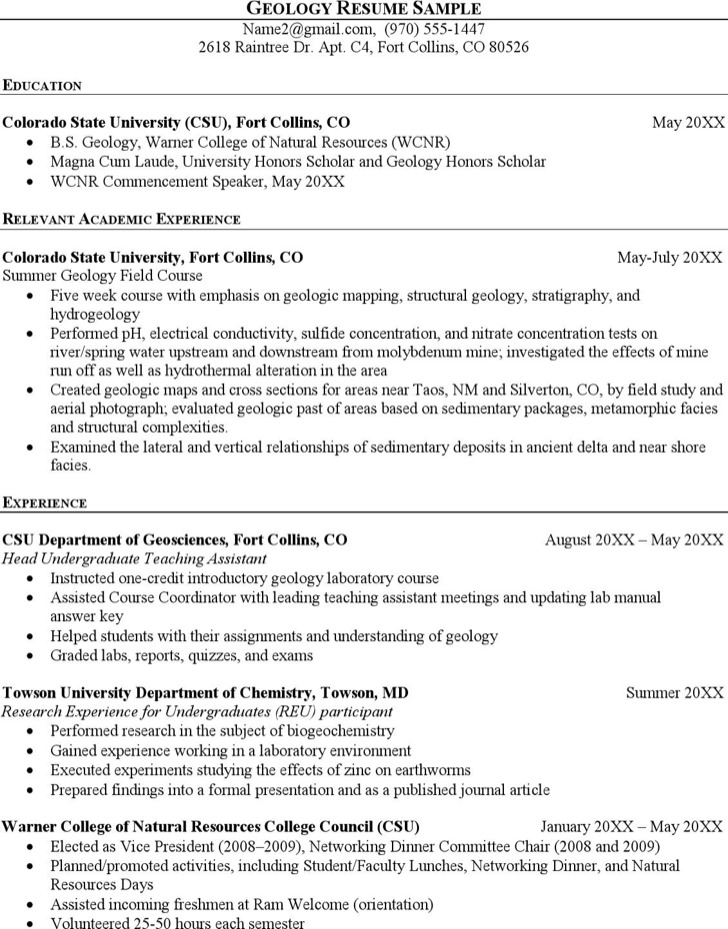 Geologist Sample Resume Seek Junior Samplegeologist
