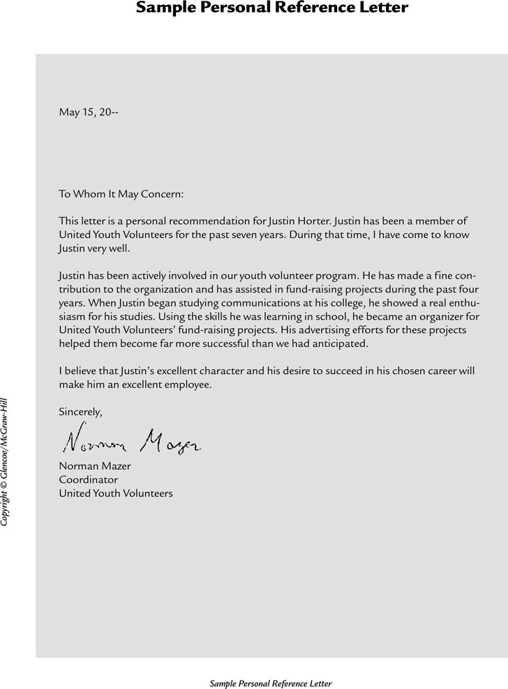 2+ Personal Reference Letter Free Download