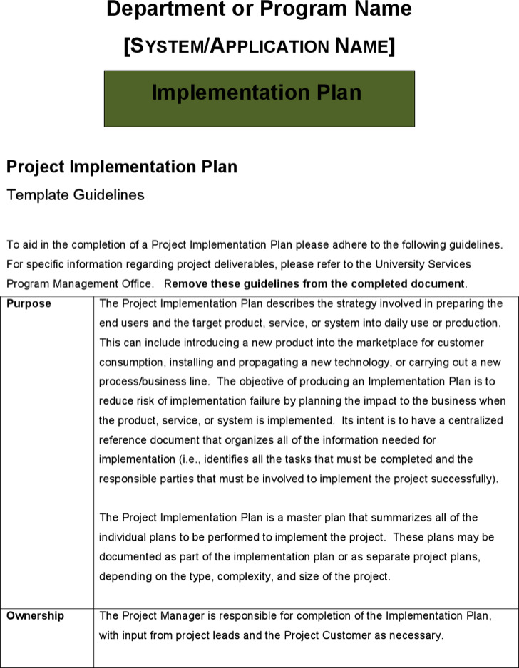 6+ Sample Project Implementation Plan Templates Free Download