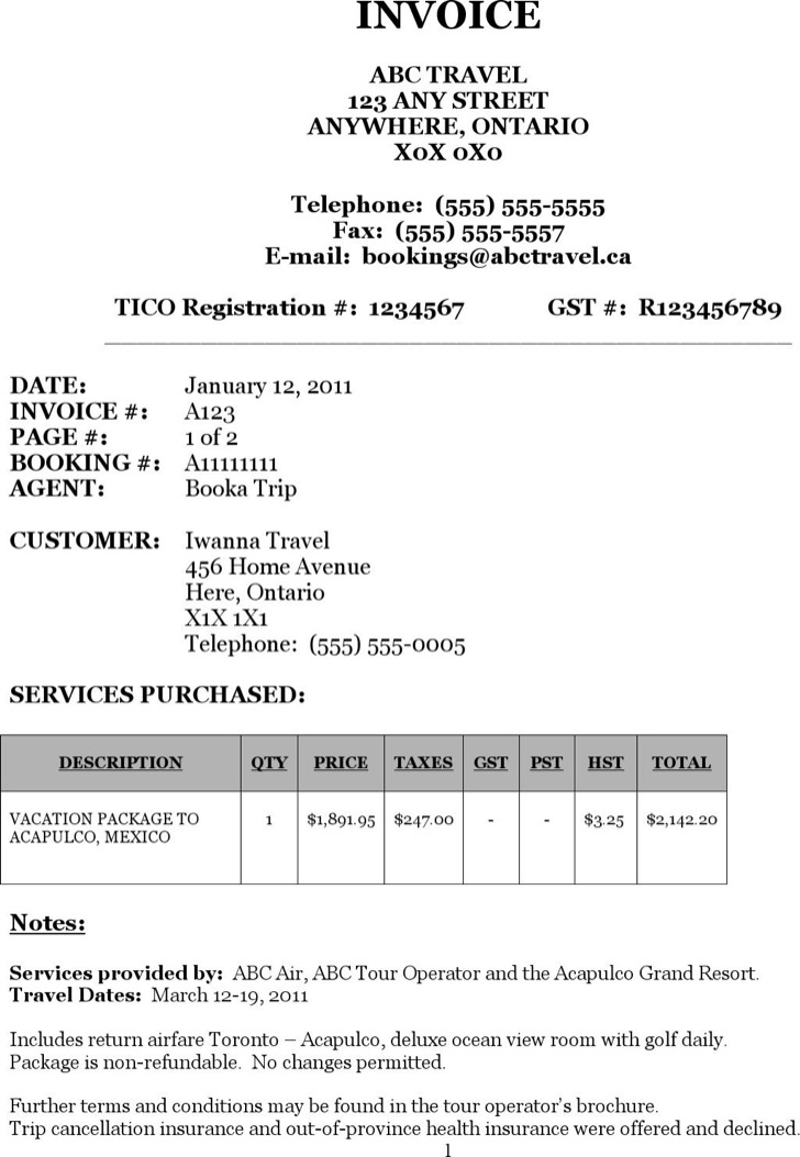 7+ Travel Invoice Templates Free Download