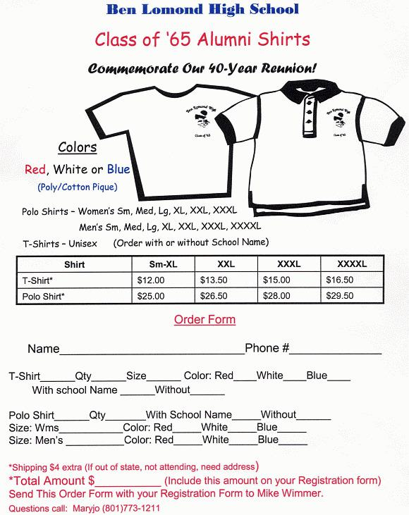 Download School T-Shirt Order Form Template PDF Free Download for