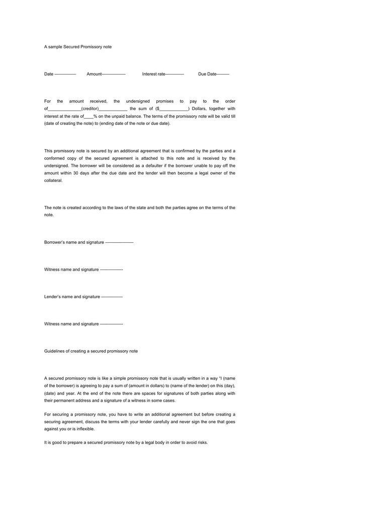 secured promissory note form - Pinarkubkireklamowe