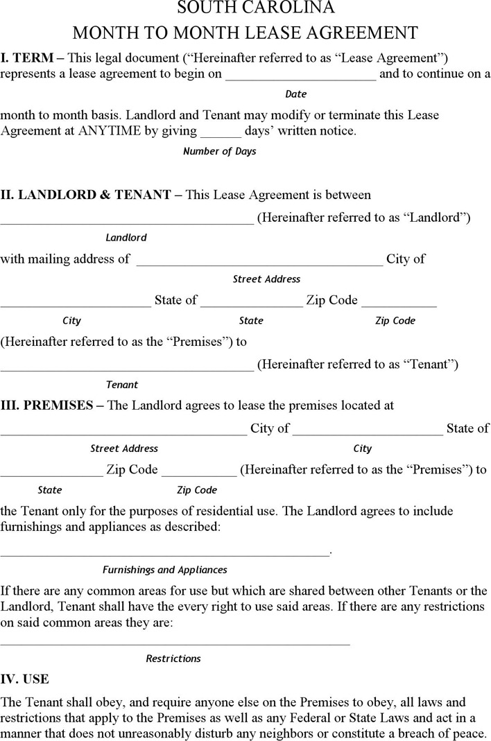7+ South Carolina Rent and Lease Template Free Download