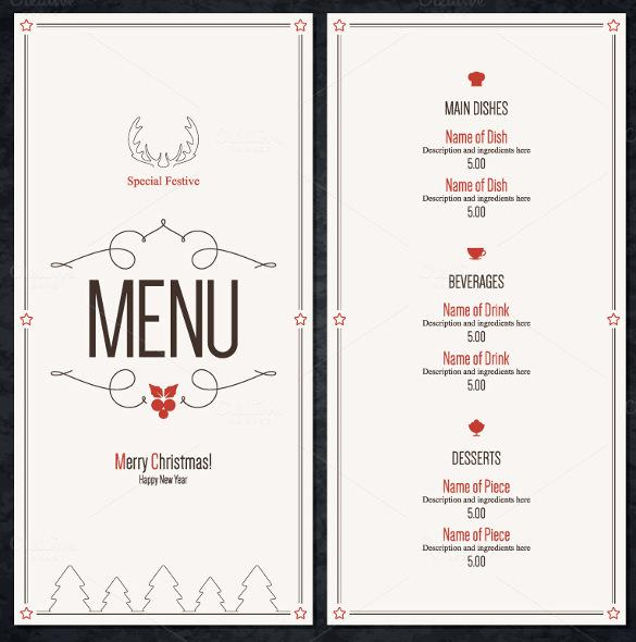 13+ Christmas Menu Templates Free Download