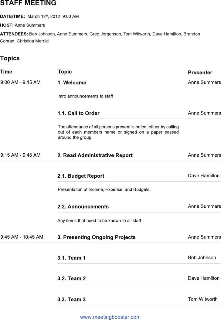 4+ Staff Meeting Agenda Template Free Download
