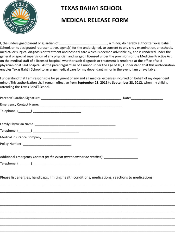 4+ Texas Medical Release Form Free Download