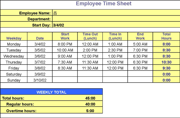 Download Employee Timesheet Template for Free - TidyTemplates
