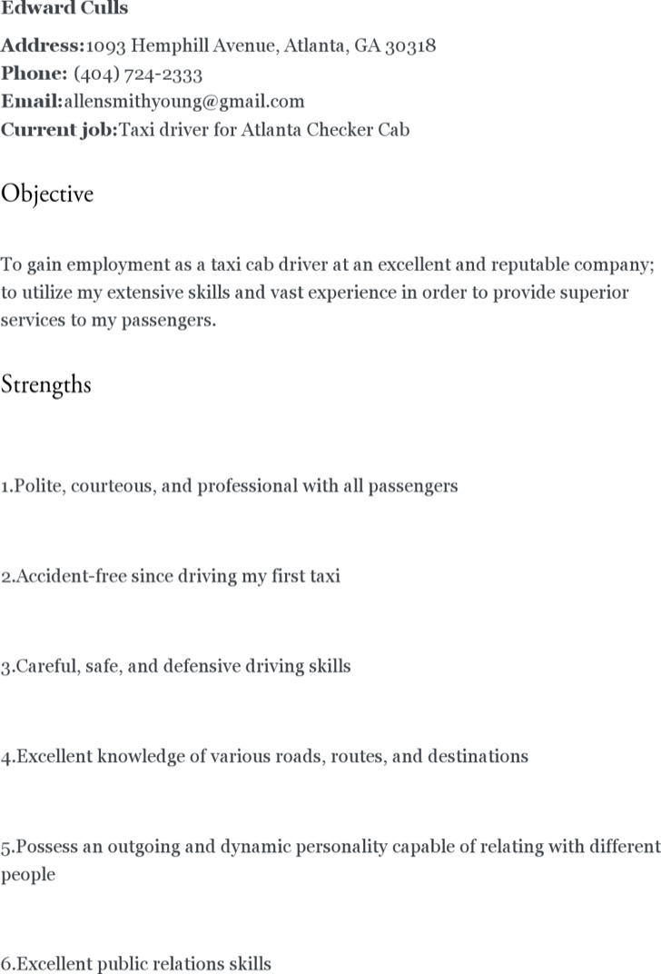 5+ Driver Resume Templates Free Download