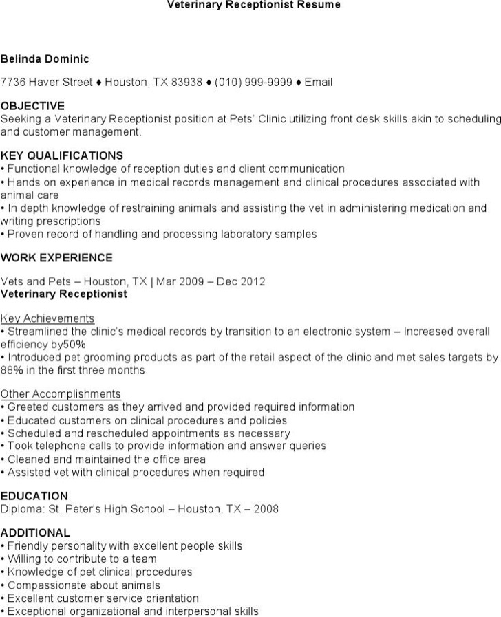 Download Veterinary Receptionist Resume for Free - TidyTemplates