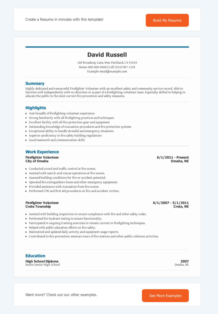 7+ Firefighter Resume Templates Free Download