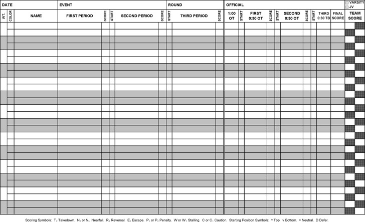 Download Wrestling Score Sheet for Free - TidyTemplates