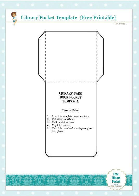 Free Library Card Book Pocket Template Printable Tip Junkie