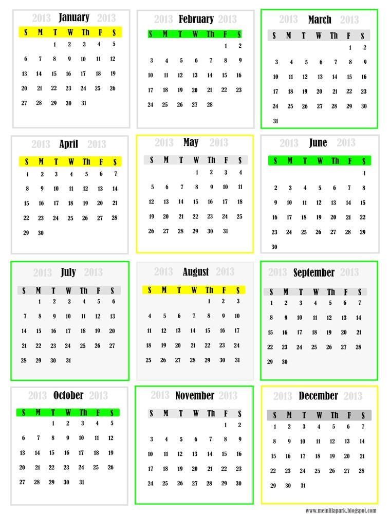 free printable 2013 calendar \u2013 monthly mini cards \u2013 Tip Junkie