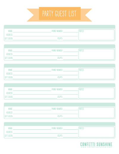 24 Party Planning Templates and Ideas Tip Junkie - party guest list template